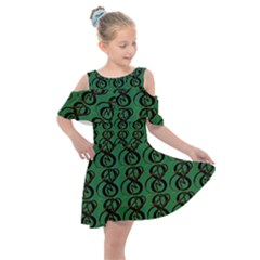 Abstract Pattern Graphic Lines Kids  Shoulder Cutout Chiffon Dress by HermanTelo