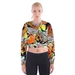 Abstract Transparent Drawing Cropped Sweatshirt by HermanTelo
