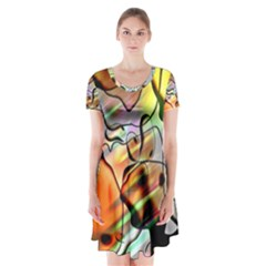 Abstract Transparent Drawing Short Sleeve V Neck Flare Dress by HermanTelo