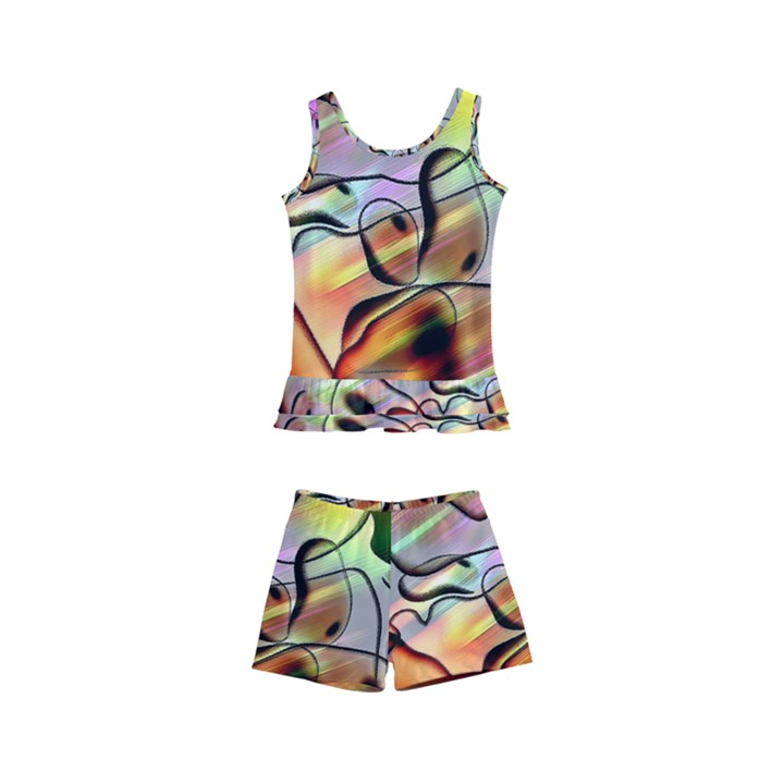 Abstract Transparent Drawing Kids  Boyleg Swimsuit