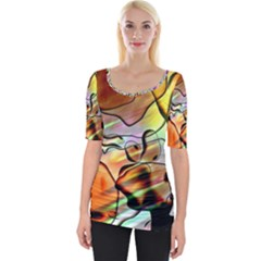 Abstract Transparent Drawing Wide Neckline Tee by HermanTelo