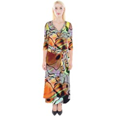 Abstract Transparent Drawing Quarter Sleeve Wrap Maxi Dress by HermanTelo