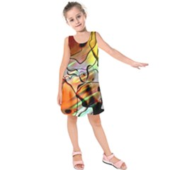 Abstract Transparent Drawing Kids  Sleeveless Dress by HermanTelo