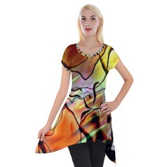 Abstract Transparent Drawing Short Sleeve Side Drop Tunic