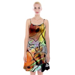 Abstract Transparent Drawing Spaghetti Strap Velvet Dress