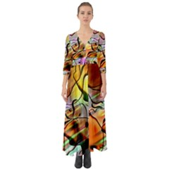 Abstract Transparent Drawing Button Up Boho Maxi Dress by HermanTelo