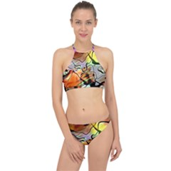 Abstract Transparent Drawing Racer Front Bikini Set