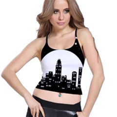 City Night Moon Star Spaghetti Strap Bra Top by HermanTelo