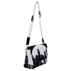 City Night Moon Star Shoulder Bag With Back Zipper by HermanTelo