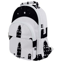 City Night Moon Star Rounded Multi Pocket Backpack by HermanTelo