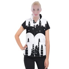 City Night Moon Star Women s Button Up Vest