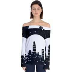 City Night Moon Star Off Shoulder Long Sleeve Top