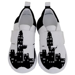 City Night Moon Star Kids  Velcro No Lace Shoes by HermanTelo