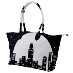 City Night Moon Star Canvas Shoulder Bag by HermanTelo