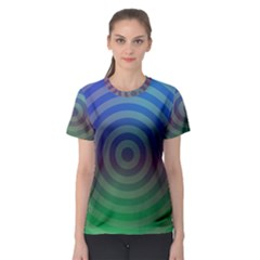 Blue Green Abstract Background Women s Sport Mesh Tee by HermanTelo