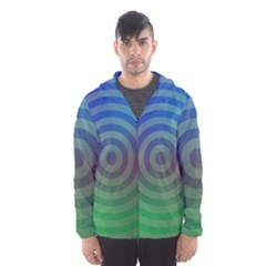 Blue Green Abstract Background Men s Hooded Windbreaker
