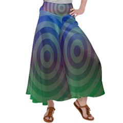 Blue Green Abstract Background Satin Palazzo Pants by HermanTelo