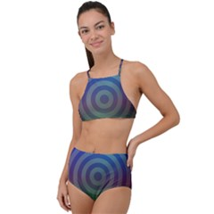 Blue Green Abstract Background High Waist Tankini Set