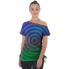 Blue Green Abstract Background Tie Up Tee by HermanTelo