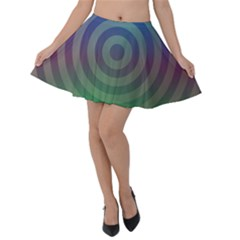 Blue Green Abstract Background Velvet Skater Skirt