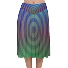 Blue Green Abstract Background Velvet Flared Midi Skirt by HermanTelo