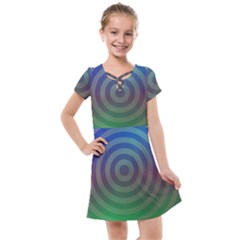 Blue Green Abstract Background Kids  Cross Web Dress by HermanTelo