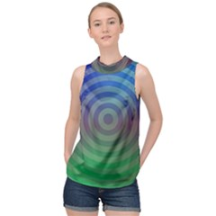 Blue Green Abstract Background High Neck Satin Top by HermanTelo
