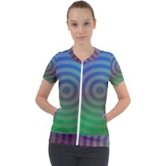Blue Green Abstract Background Short Sleeve Zip Up Jacket