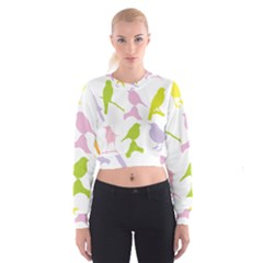 Birds Colourful Background Cropped Sweatshirt by HermanTelo