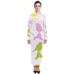 Birds Colourful Background Turtleneck Maxi Dress by HermanTelo