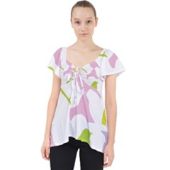 Birds Colourful Background Lace Front Dolly Top
