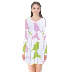 Birds Colourful Background Long Sleeve V Neck Flare Dress by HermanTelo