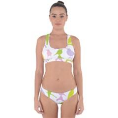 Birds Colourful Background Cross Back Hipster Bikini Set