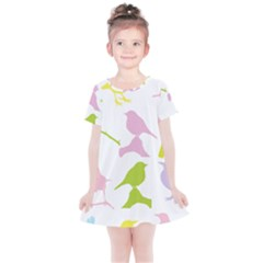 Birds Colourful Background Kids  Simple Cotton Dress