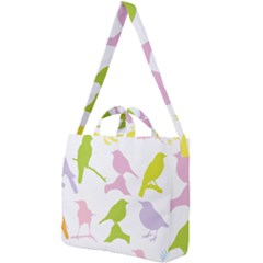 Birds Colourful Background Square Shoulder Tote Bag