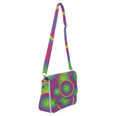 Background Colourful Circles Shoulder Bag With Back Zipper by HermanTelo