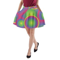 Background Colourful Circles A-line Pocket Skirt