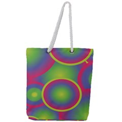 Background Colourful Circles Full Print Rope Handle Tote (large)