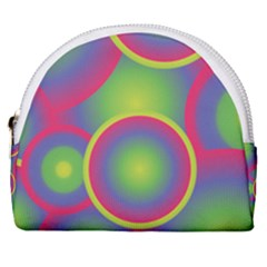 Background Colourful Circles Horseshoe Style Canvas Pouch by HermanTelo