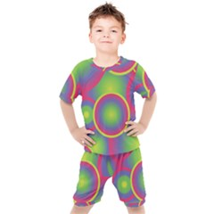 Background Colourful Circles Kids  Tee And Shorts Set by HermanTelo