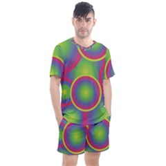 Background Colourful Circles Men s Mesh Tee And Shorts Set