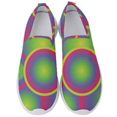 Background Colourful Circles Men s Slip On Sneakers by HermanTelo