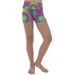 Background Colourful Circles Kids  Lightweight Velour Yoga Shorts by HermanTelo