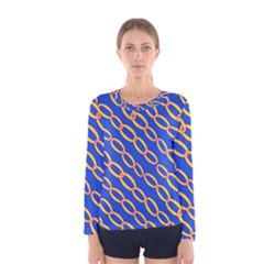 Blue Abstract Links Background Women s Long Sleeve Tee by HermanTelo