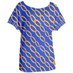 Blue Abstract Links Background Women s Oversized Tee by HermanTelo