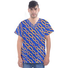 Blue Abstract Links Background Men s V Neck Scrub Top by HermanTelo