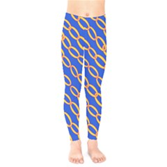 Blue Abstract Links Background Kids  Legging by HermanTelo
