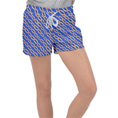 Blue Abstract Links Background Women s Velour Lounge Shorts