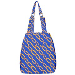 Blue Abstract Links Background Center Zip Backpack