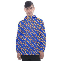 Blue Abstract Links Background Men s Front Pocket Pullover Windbreaker